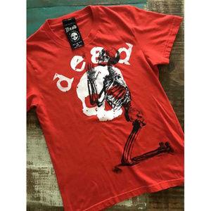 DEAD IS Vintage Skeleton Skull Graphic T-Shirt